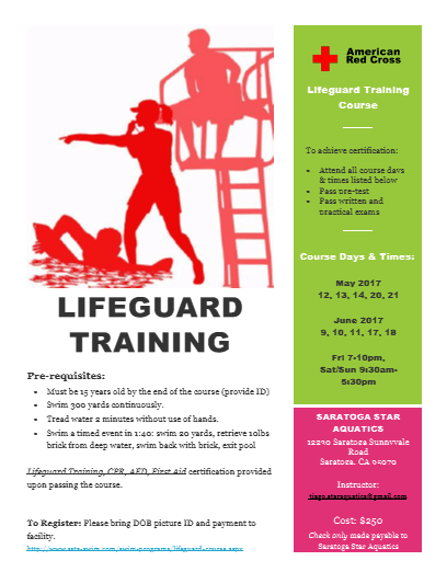American Red Cross Lifeguard Tralning Course To achieve certification: Attend all course davs & times listed below Pass ore-test Pass written and oractical exams Course Days & Times: May 2017 12, 13, 14, 20, 21 LIFEGUARD June 2017 9, 10. 11. 17. 18 TRAINING Fri 7-10pm, Sat Sun 9130am Pre-requisites: 5130pm Must be15 rears old by the end of the course (provide ID) Swim 300 yards continuously SARATOGA STAR Tread water a minutes without use of hands. AQUATICS Swim a timed event in 1:40: snrim zo yards, retrieve 1albs 13o Saratoza Sunnvvale Road Saratoza. CA 05070- brick from deep water, swim back with brick, exit pool Lifeuand Training C An Bi aid certification provided upon passing the course. Instructor: tiaaatartict paal.cam Cost: $250 To Register: Flease bring DOB picture ID and payment to facility Chack only mada payable to SAratoga Stae Aquanics nim com im m aapa